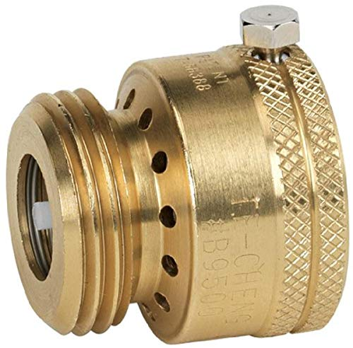 Homewerks Worldwide VACBFPZ4B Vacuum Breaker Hose Bib Backflow Preventer, 3/4 Inch, Brass Finish