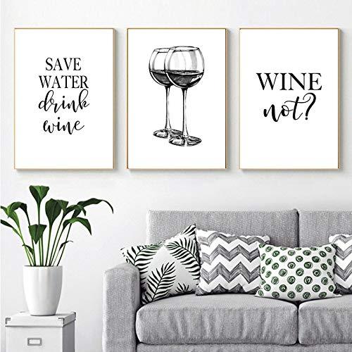 YCCYI Wein Wandbild Weinglas Leinwand Gemälde Schwarz Weiß Lustiges Zitat Kunstdrucke Poster Bar Wanddekoration Wohnkultur 40x50cm (16x20in) x3 Ungerahmt