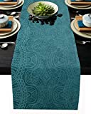 Aqua Teal Mandala Floral Table Runner Dresser Scarves,Linen Burlap Table Runners Cloth for Dinner Holiday Party, Kitchen Decor Indian Boho Ethnic Style 18x72inch