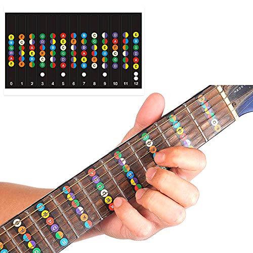 FineFun - Pegatinas para trastes de la guitarra, identificación de notas, ajustable para guitarras de 6 cuerdas, negro