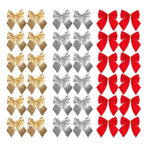 Gukasxi Geschenkschleifen 144 Stück Mini Weihnachtsbaum Bögen Dekorative Schleife Band Bögen Ornamente Weihnachten Schleifen Bowknots Weihnachtsbaum Ornamente für Weihnachtsbaum Hängende Dekoration