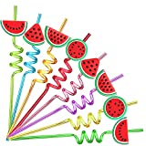 24 Watermelon Fruit Drinking Straws with 2 PCS Straws Cleaning Brush for One in A Melon Party Supplies Watermelon Birthday Party Supplies Decorations Favors
