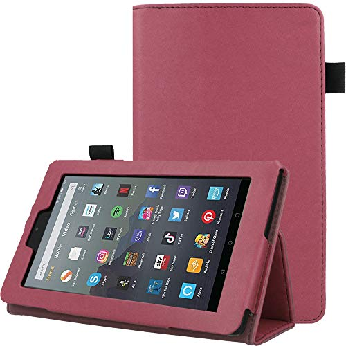 TECHGEAR Case Designed For All New Amazon Fire 7' (9th Generation / 2019 Release) PU Leather Slim Folio Stand Case Cover with Hand Strap [Plum] with Auto Wake/Sleep