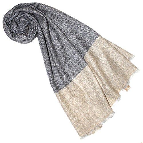 Lorenzo Cana 78203777 - Sciarpa da donna in cashmere al 100% in fibra naturale Gemustert-hellbraun-creme 70 x 200 cm