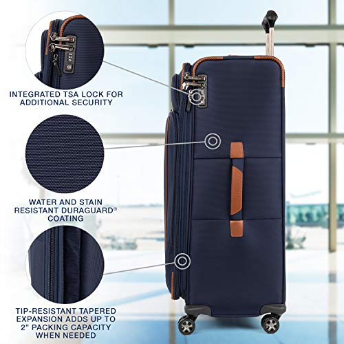 Travelpro Crew Versapack Softside Expandable Spinner Wheel Luggage, Patriot Blue, Checked-Large 29-Inch