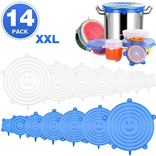 UOON Silikondeckel Stretch, Dehnbare Silikondeckel, 14 Teiliges Silikon Stretch Deckel in Verschiedenen Größen, BPA Frei, Sicher & Gesund für Schüsseln, Becher, Dosen, Obst (Blau/Weiß)