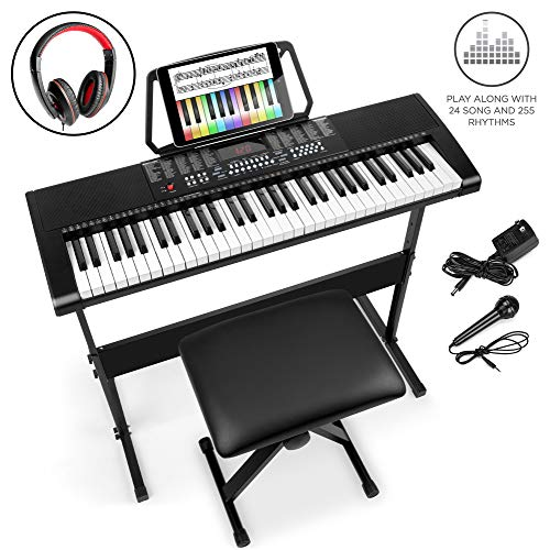 Best Choice Products 61-Key Beginners Electronic Keyboard Piano Set w/LED, 3 Teaching Modes, H-Stand, Stool, Microphone