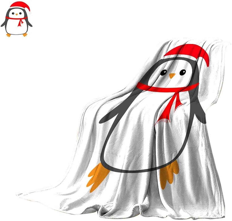 Degrees of Comfort Weighted Blanket Digital Printing WarmPenguin Bird on Snowdrift Red Santa Claus hat Scarf Cute Cartoon Kawaii Baby Character Merry Christmas Flat Design Hello Throw Blanket 50 x30