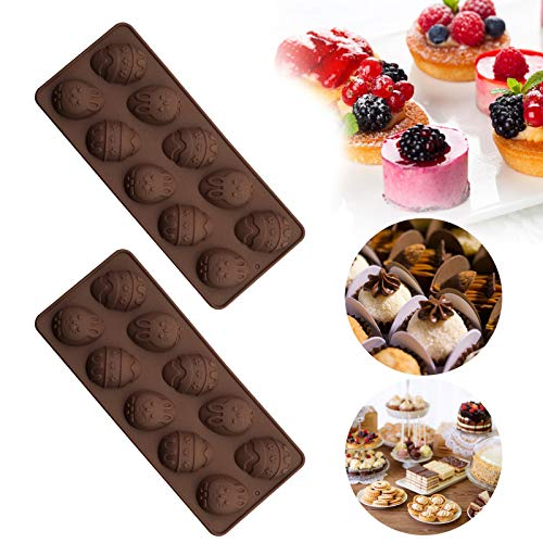 10 Hole Easter Egg Silicone Molds, 3D Bunny Rabbit Egg Shape Chocolate Mold Non-Stick Silicone Mold For DIY Chocolate Candy Fondant Cake Baking Jelly Cocoa Bombs Soap Making Tool