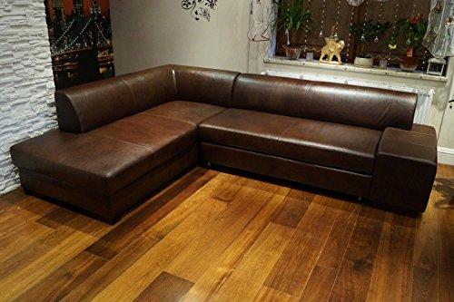 Quattro Meble Ecksofa London II 275 x 200 Dunkelbraun Echtleder Sofa Couch mit Schlaffunktion und Bettkasten Echt Leder Eck Couch große Farbauswahl
