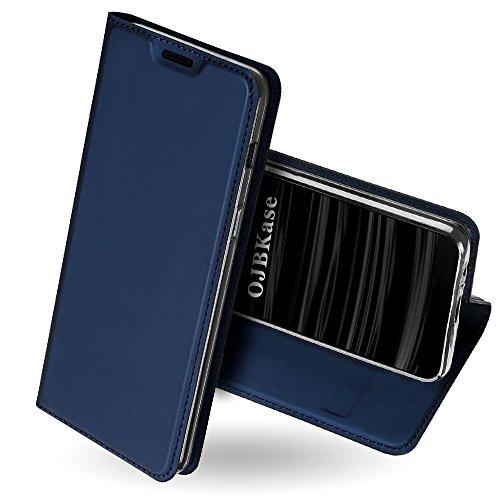 OJBKase Galaxy J6 2018 Hülle, Premium Slim PU Leder Handy Schutzhülle [Standfunktion] Hülle/Cover/Brieftasche/Ledertasche Bookstyle Tasche Lederhülle Handyhülle für Samsung Galaxy J6 2018 (Blau)