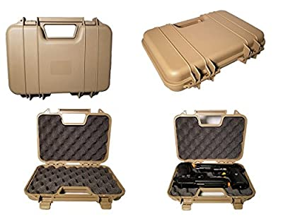 A&N Gun Pistol Handgun Airgun Hard Durable Portable Lockable Case Safe - Black Red Tan- L12-W10-H3 (Tan)
