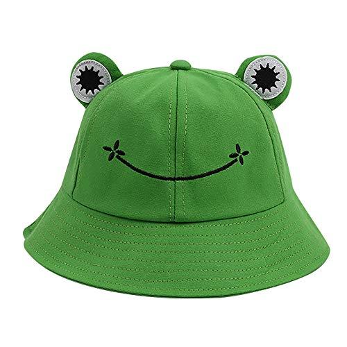 SHINEHUA Buckethut für Erwachsene, Frosch, Anglerhut, Sonnenhut, Faltbar Sommermütze aus Baumwolle, niedlicher Frosch-Hut für Damen Herren