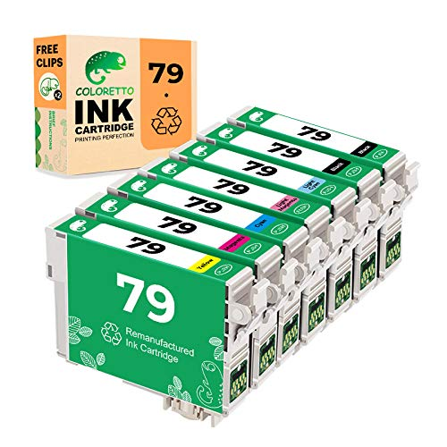 COLORETTO Remanufactured Ink Cartridge Replacement for Epson 79 T079 Used for Epson AStylus Photo 1400 Printer 7 Packs (2 Black, 1 Cyan, 1 Magenta 1 Yellow,1 Light Cyan,1 Light Magenta) Combo Pack