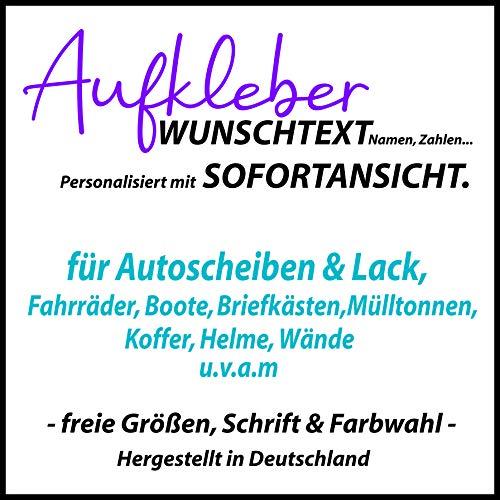 A&D-Foliendesign Wunschtext Aufkleber - personalisierter Autoaufkleber Klebebuchstaben Name Wunschname mit Sofortansicht - (Größen, Schrift und Farbauswahl)
