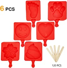 Popsicle Silicone Molds,6 Piece Popsicle Molds Shapes in Different Styles Cute Mini Ice Popsicle Molds DIY ICE Cream with 120 Wooden Sticks by Korty