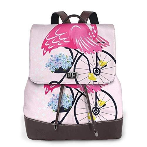 SGSKJ Mochila de Cuero Mujer Bolso Flamingo Gafas de Sol Pájaro Bicicleta Estudiante Casual Bolsa La Universidad Bolsa de Viaje de Cuero Mochila Mujer