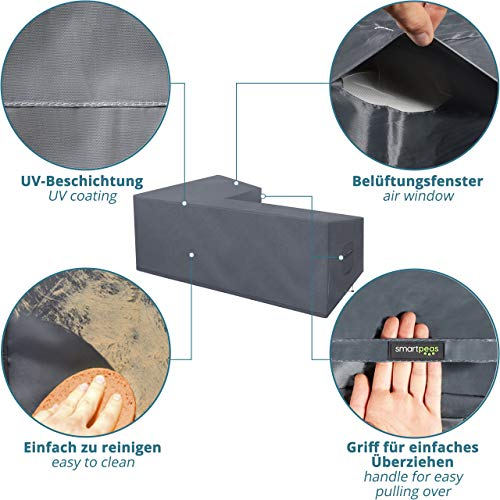 Abdeckung für L-Form Gartenmöbel & Loungemöbel 210x270x90cm Lounge Abdeckplane für L Form Gartenlounge - 6