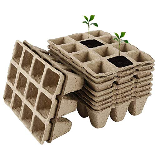 ZDYLM-Y Bandejas Semilleros Germinacion, 12 Celdas, protección del Medio Ambiente, macetas de plántulas biodegradables, bandejas de germinación,40 Pcs