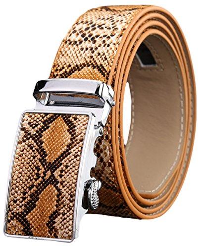 Ayli Men's Genuine Leather Ratchet Belt, Alligator or Snakeskin Embossed