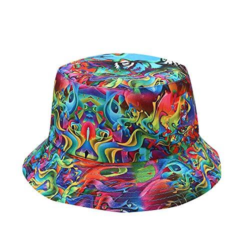 LIUBAOBEI Cubo Sombreros,Sombreros De Verano para Mujer Impresión De Moda Sombrilla Sombrero De Pescador Sombrero De Lavabo Sombrero De Cubo Al Aire Libre-Color: 8_56-58Cm