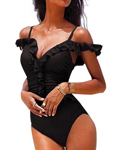 Toaho Damen Sexy Beach Strand Tankini Monokini Push Up Bademode Swimwear Swimsuit Badeanzüge Rüsche Schwarz M