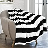 PAVILIA Striped Throw Blanket for Sofa Couch | Soft Flannel Fleece Stripe Black and White Decorative Throw | Warm Cozy Lightweight Microfiber | 50 x 60 Inches