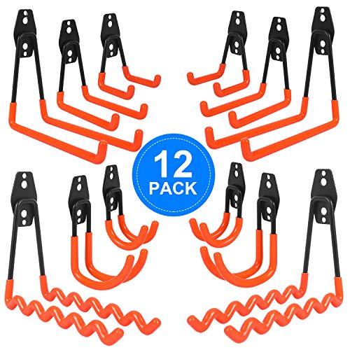 AojSup 12 piezas Gancho para Colgador de Garaje dobles Ganchos de almacenamiento de garaje Gancho de Bicicleta de Pared para organizar herramientas,escaleras,bicicletas