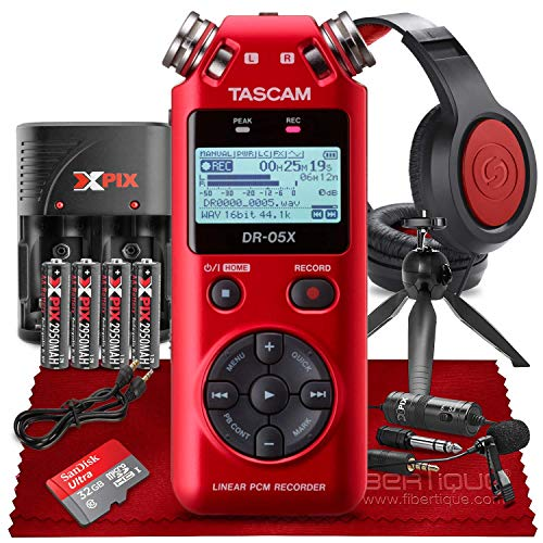 Tascam DR-05X 2-Input / 2-Track Portable Stereo Handheld Digital Audio Recorder w/ USB Audio Interface (Red) + Premium Kit - Headphones, Lavalier Mic, 32GB SD, Tripod, Cables & Batteries & Charger