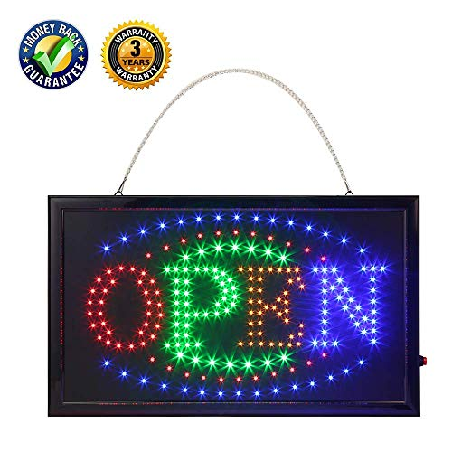 Led Bar Signs, Bar Open Sign Led Neon Light Sign Electric Display Sign 19x10inch Two Modes Flashing & Steady Light for Business Bar Sign