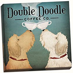 Hand-stretched canvas with two Goldendoodles balancing cups on noses, photo