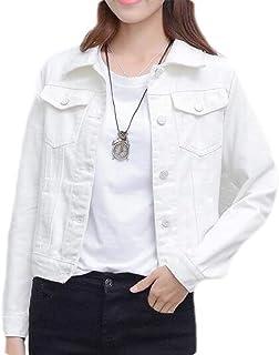 FSSE Women Juniors Solid Long Sleeve Button Down Denim Trucker Jacket Coat