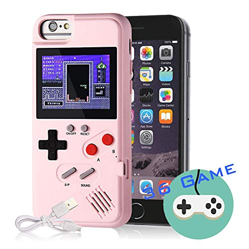 Gameboy Case for iPhone, Autbye Retro 3D Phone Case Game Console with 36 Classic Game, Color Display Shockproof Video Game Phone Case for iPhone (for iPhone 6P/7P/8P, Pink)