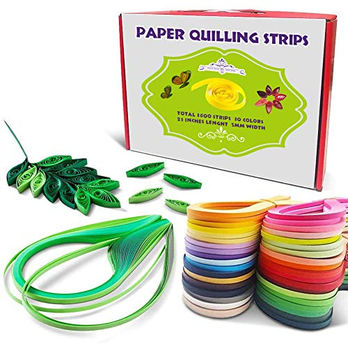 Quilling Papierstreifen 5mm Breite,Papier Quilling Streifen, Papier Quilling Set, 54 cm Länge, 30 Farben 3600 Streifen