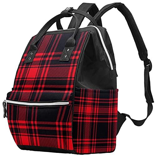 WJJSXKA Zaini Borsa per pannolini Laptop Notebook Zaino da viaggio Escursionismo Daypack per donna Uomo - Motivo scozzese nero e rosso