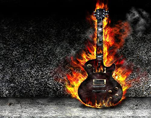 DIY Pintar por Números para Niños Y Principiante Y Adultos,La guitarra ardiendo en la vieja habitación,Regalo Pintura al óleo Conjunto de Kit Lienzo Decor,20