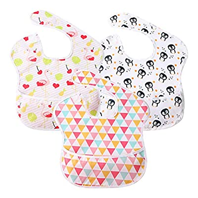 Baby Bib Feeding Bibs Waterproof Drool Bib Coverall 3 PCS Set Adjustable Closure for Babies Toddlers with Large Pocket (6-36 Months) (Penguin & Flamingo &Triangle)
