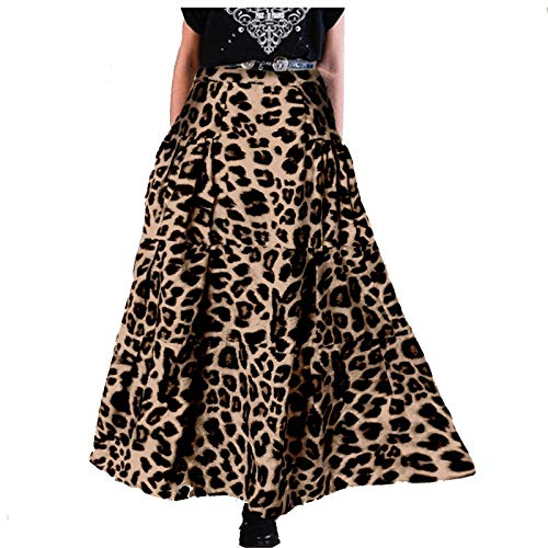 Goosuny Damen Rockabilly Faltenrock Hohe Taille Rock Midi Swing Röcke A-Linie Hohe Taille Plissee Leopard Vintage Rock Long Skirt