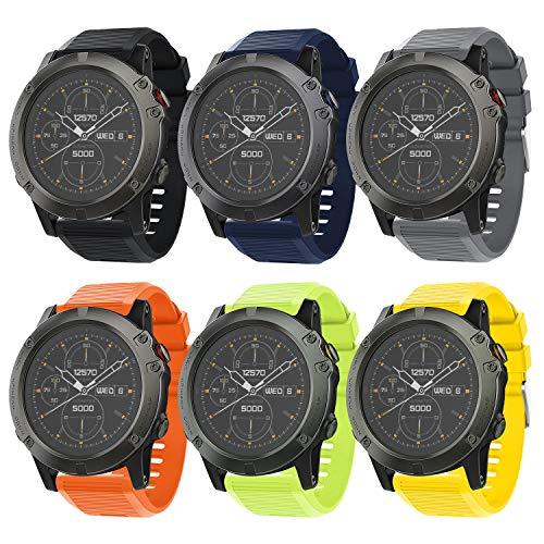 Songsier Compatible with 6X Watch Band, 26mm Easy Fit Band Soft Silicone Sport Wristbands Replacement Strap for Fenix 5X/Fenix 5X Plus/Fenix 6X/Fenix 6X Pro/Fenix 3/Fenix 3 HR/Descent MK1/D2 Delta PX