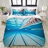 PENGTU Bedding Bettwäsche-Set,Hobby Schwimmbad Sport Ansicht Print,Mikrofaser Bettbezug und Kissenbezug - (135 x 200 cm)