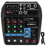 Consola mezcladora de sonido de música profesional de 4 canales para bandas de grabación de computadora USB Home