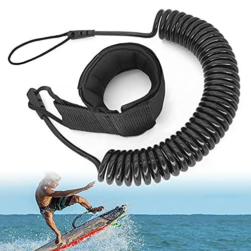 JEEZAO 10 Pieds Sup Leash de Planche de Surf TPU Sangle de Cheville Télescopique Spirale,Attache...