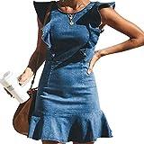 MYHALF Women's Casual Round Neck Ruffle Trim Sleeveless Denim A Line Mini Dress Size S(US 0-2) (Blue)