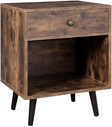 Industrial-Style Side Table, with a Drawer and an Open Compartment, Bedside Cabinet 50 x 40 x 58 cm,A