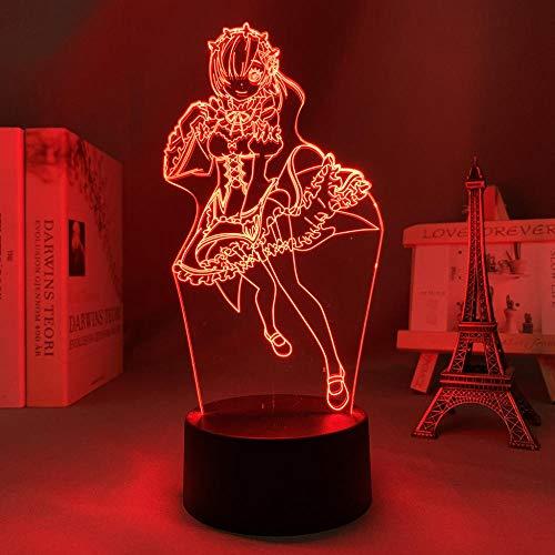 3D anime nattlampa för barn, lampa återkallar noll startliv i en annan värld nattlampa för sovrum dekor återställ noll rom LED för födelsedag/julklapp (beröringskontroll)