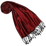 Lorenzo Cana Luxus Seidenschal für Frauen Schal 100% Seide gewebt Damenschal elegant Paisley Muster Ton in Ton, Rot, 35 x 160 cm