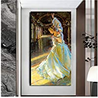 北欧の家の装飾プリントキャンバス壁アート絵絵画ヨーロッパの女性リビングルームの家の装飾のためのキャンバス絵画-70x140cmx1フレームなし