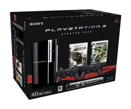 Console Playstation 3 Starter Pack 3 (40Go + Uncharted Drake's Fortune + Need for Speed Pro Street + 2 Manettes Sixaxis)
