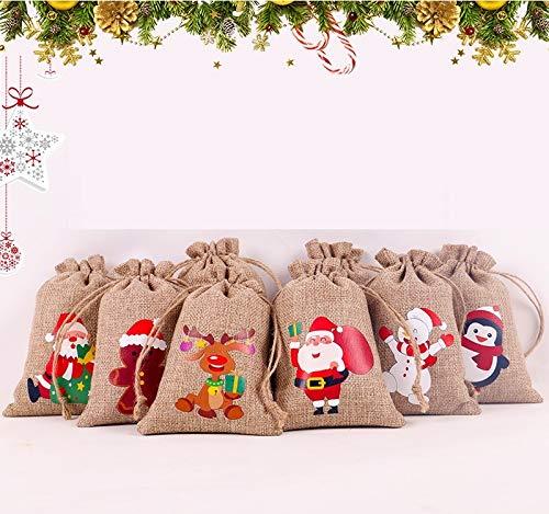 Kaishuai - Saco de Navidad de Papá,yute,bolsa regalo,(12pcs )estilo vintage, yute arpillera,Bolsas regalo comunion.