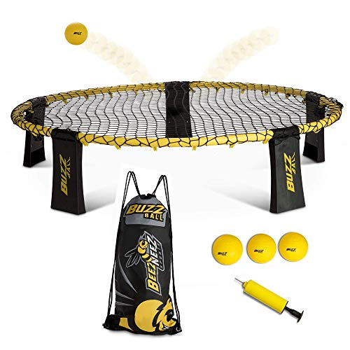 BeezNeez Sports quotBuzz Ball Spike Battle Game Set  Slam and Bounce Outdoor Games for Adults Kids and Family Beach Games with a Beach Bag Lawn Game is a Great Teen boy and Girl Gift